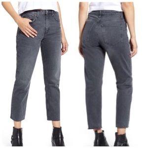Topshop Straight Jeans Moto High Rise Raw Hem Gray